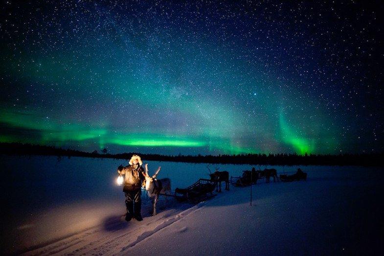 finland northern lights with raindeer