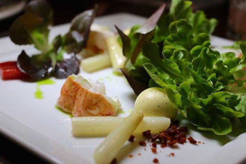 White Asparagus Salad with Maine Lobster at Talavera Four Seasons
