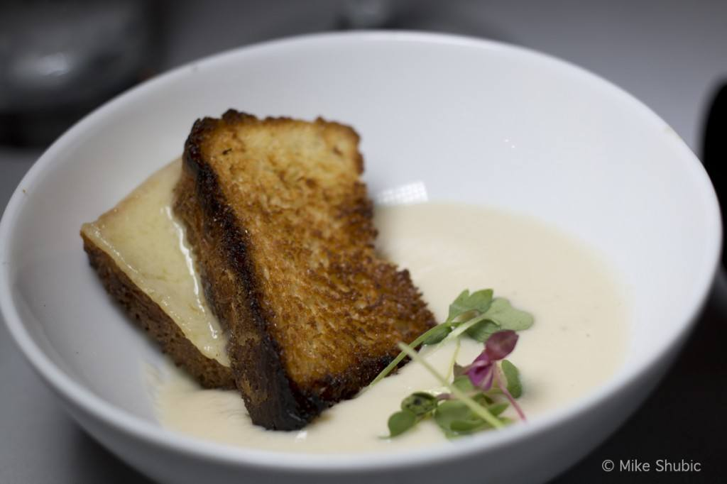 Cafe Monarch • Roasted Apple-Parsnip Soup with Gruyere Cheese Brioche Sandwich