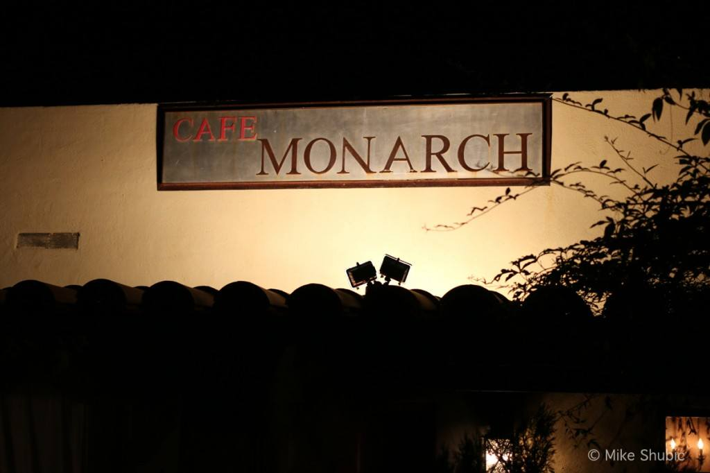 Cafe Monarch sign at night