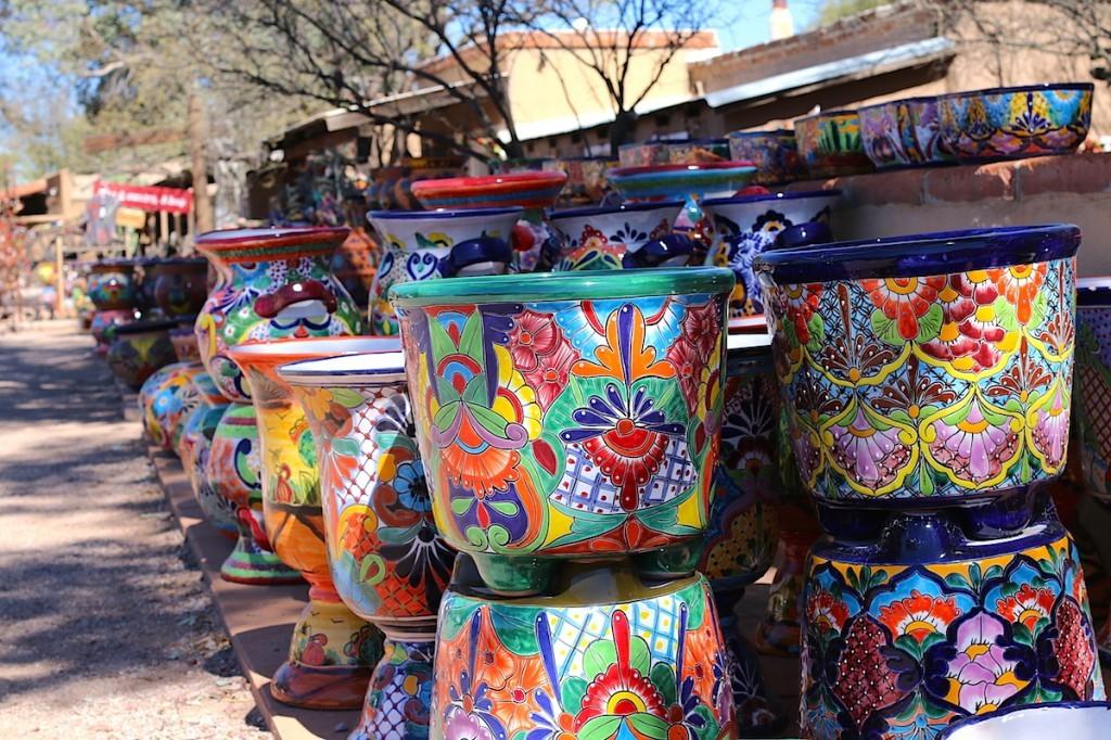Colorful pots in Tubac AZ