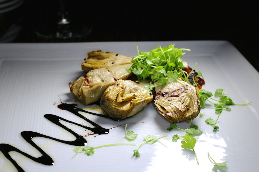 Grilled artichoke hearts at Stables Restaurant