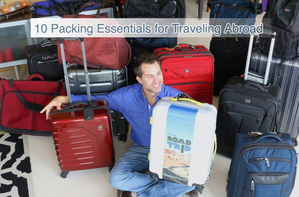 10 essentials to pack when going abroad. Photo of Mike Shubic in a sea of luggage