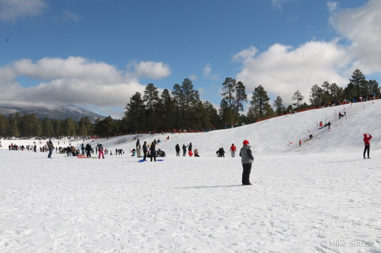 Snow Play Sledding is one of the things to do during Winter in Flagstaff Arizona. Photo by: MikesRoadTrip.com