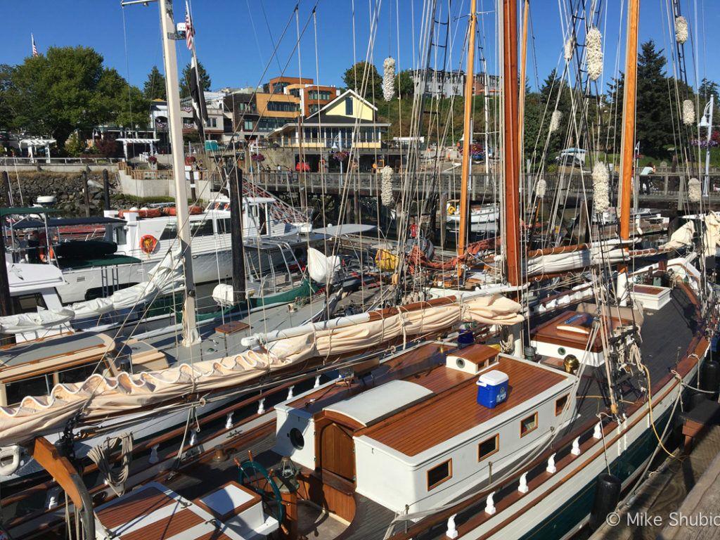 wooden sailboat at Friday Harbor by MikesRoadTrip.com