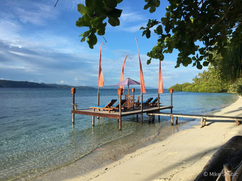 Raja Ampat Dive Lodge beach area by MikesRoadTrip.com