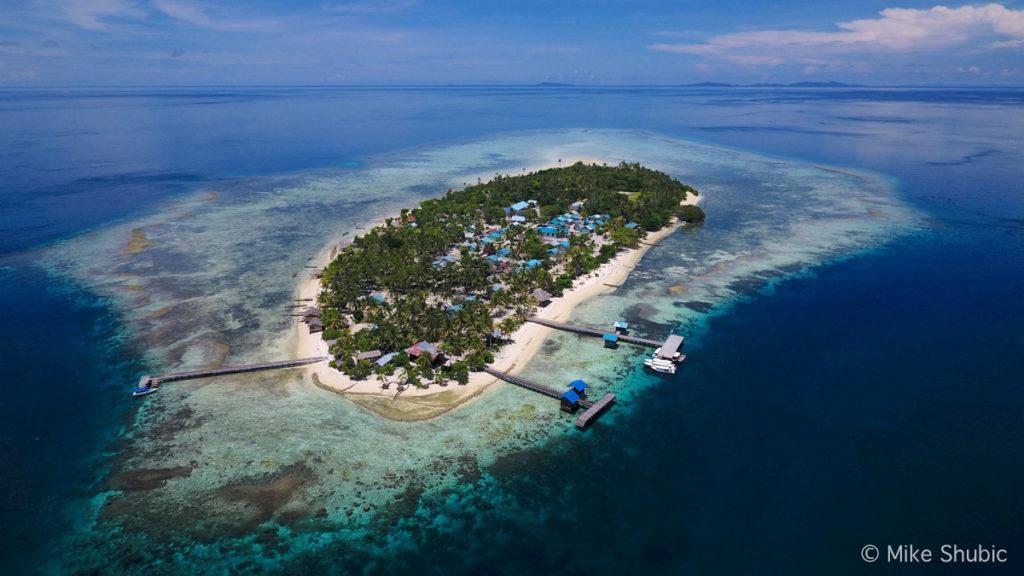 Aerial shot of Di Kampung Wisata Arborek in Raja Ampat by MikesRoadTrip.com