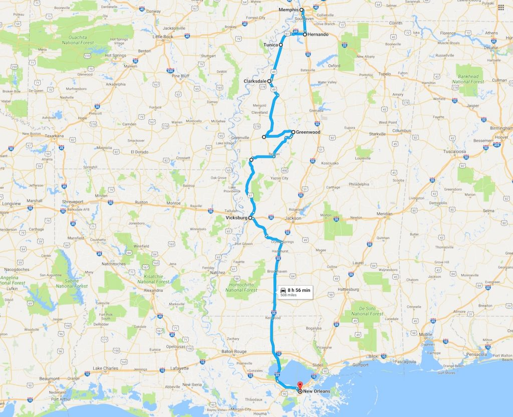 Blues Trail road trip map form Memphis to New Orleans