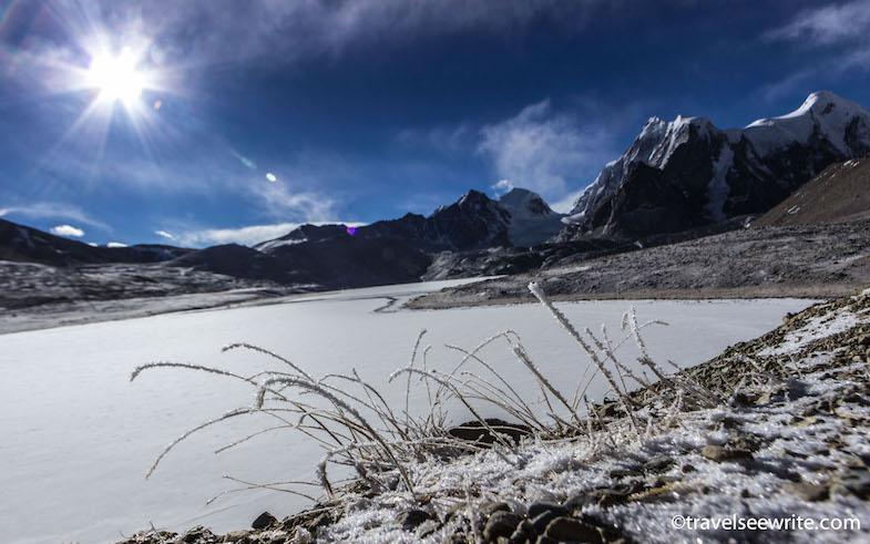 Frozen Gurudongmar Lake in winters, North Sikkim