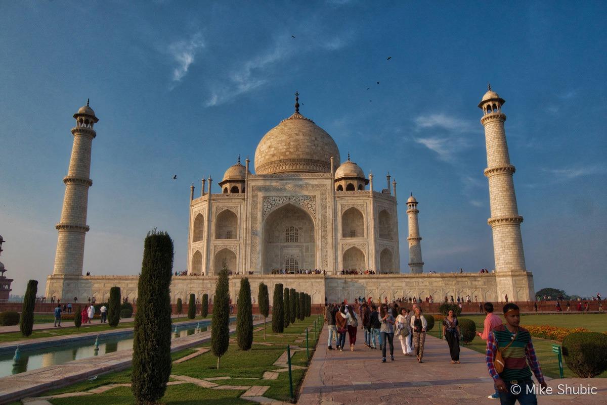 Taj Mahal at sunset while riding the Palace on Wheels train - Photo by MikesRoadTrip.com
