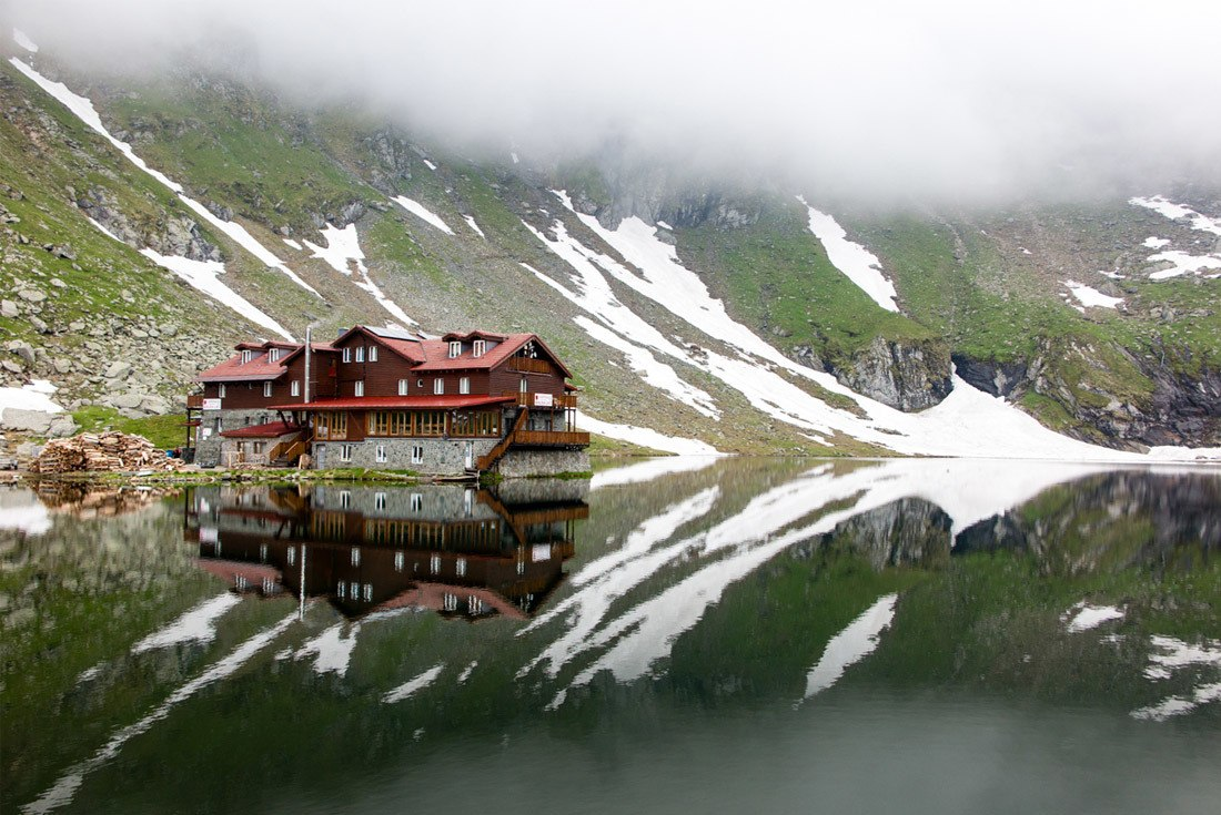 Roadside Attractions in Romania include the Chalet on Balea Lake