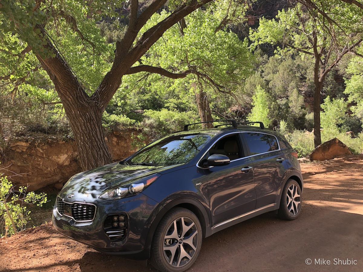 Kia Sportage on Southwest road trip through the La Sal Mountains by MikesRoadTrip.com