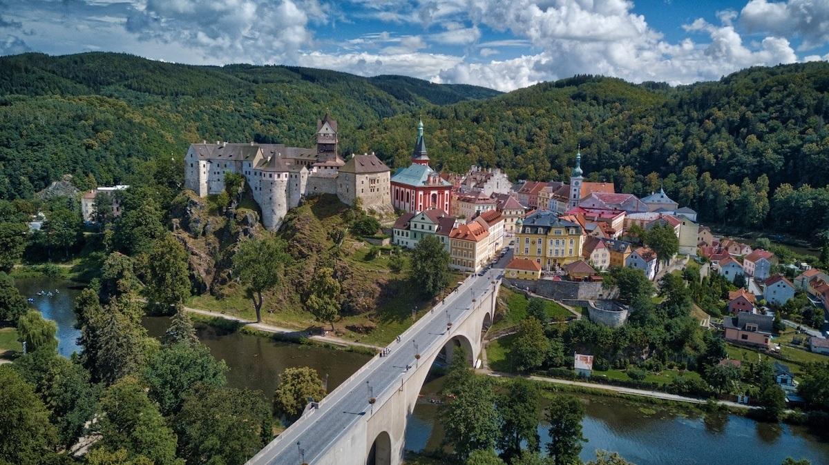 Loket Czech Republic is just 2 hours beyond Prague. Aerial photo by MikesRoadtrip.com