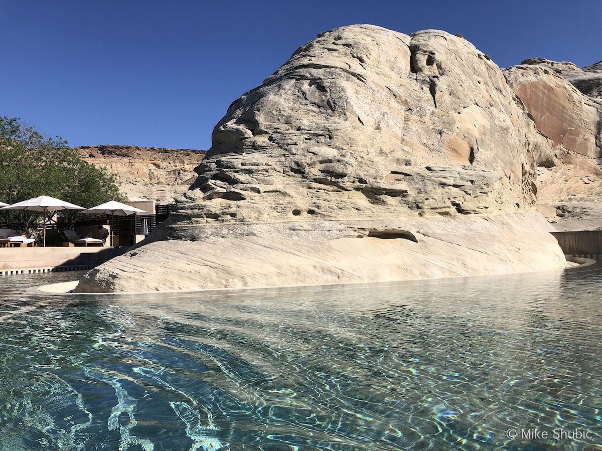 Huge rock in the pool at Amangiri by MikesRoadTrip.com