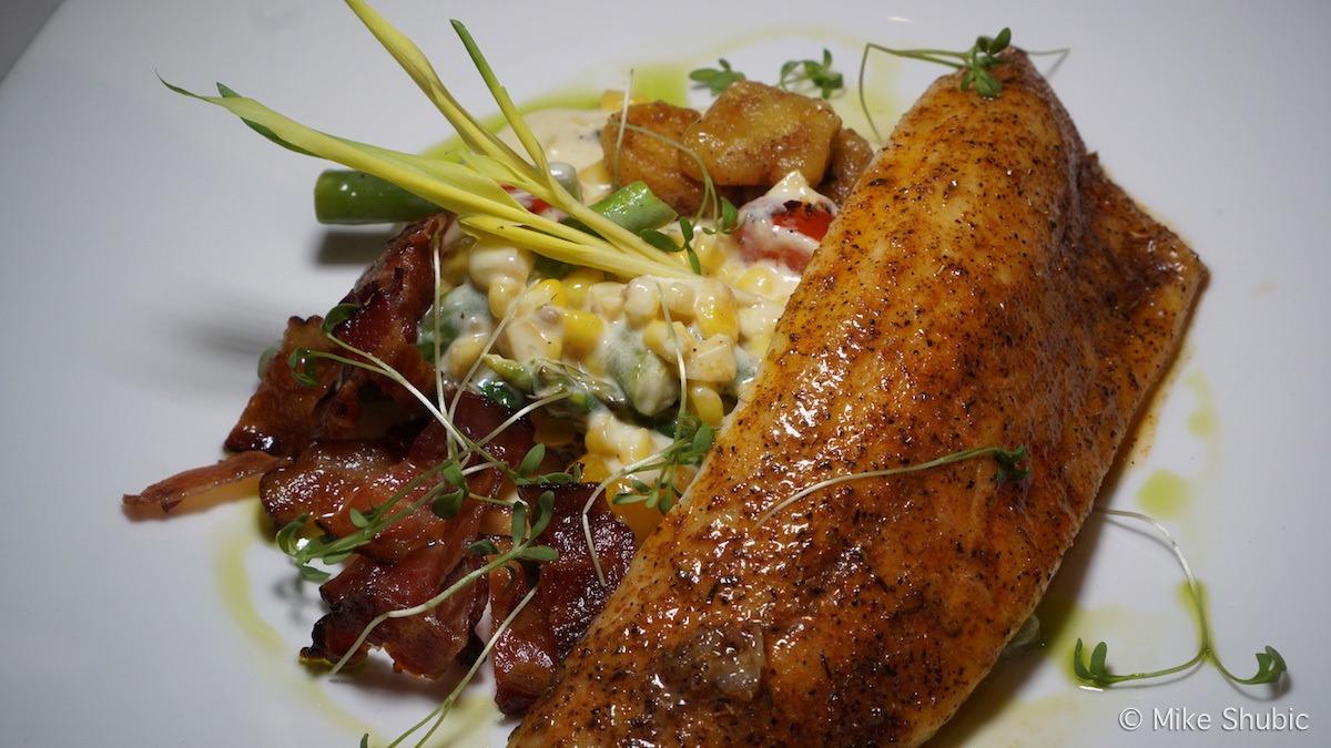 Sea Bass at Aerie restaurant at Grand Traverse Resort by MikesRoadTrip.com