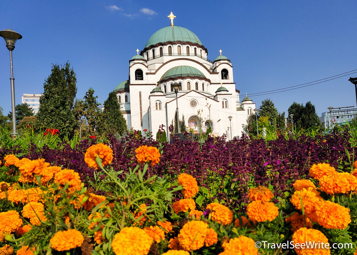 Central Europ Road Trip to St. Sava Church from the gardens, Belgrade, Serbia, Eastern Europe