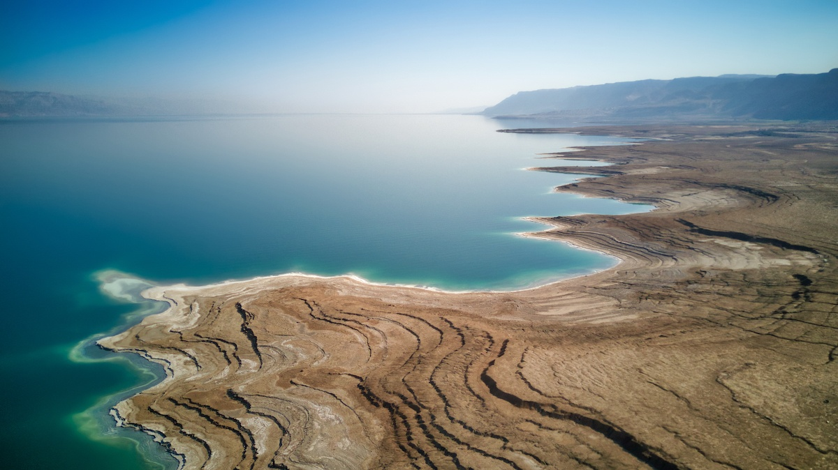 Travel to Israel to see the Dead Sea. Aerial photo by Mike Shubic of MikesRoadTrip.com