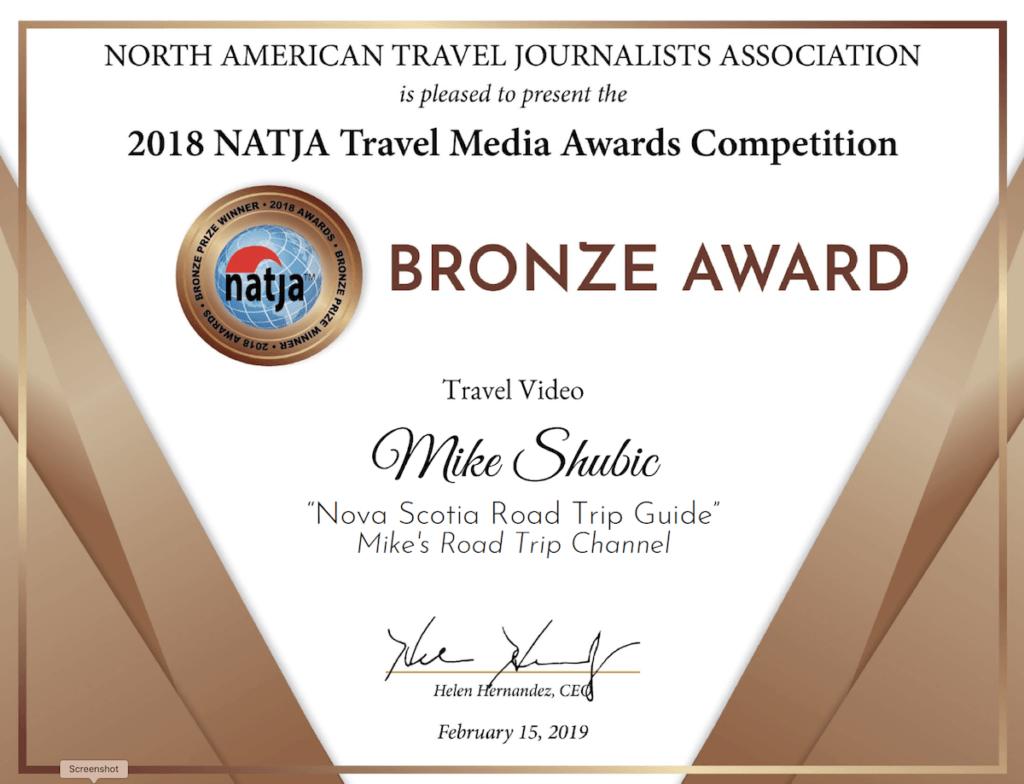 2018 bronze winner certificate for the NATJA Travel video catagory - Winner is Mike Shubic of MiikesRoadTrip.com