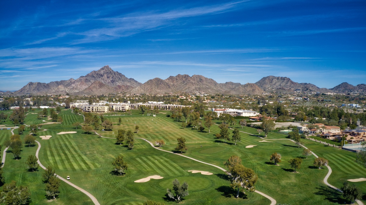 Camelback Mountain and golf course in front of AC Hotel Phoenix by MikesRoadTrip.com