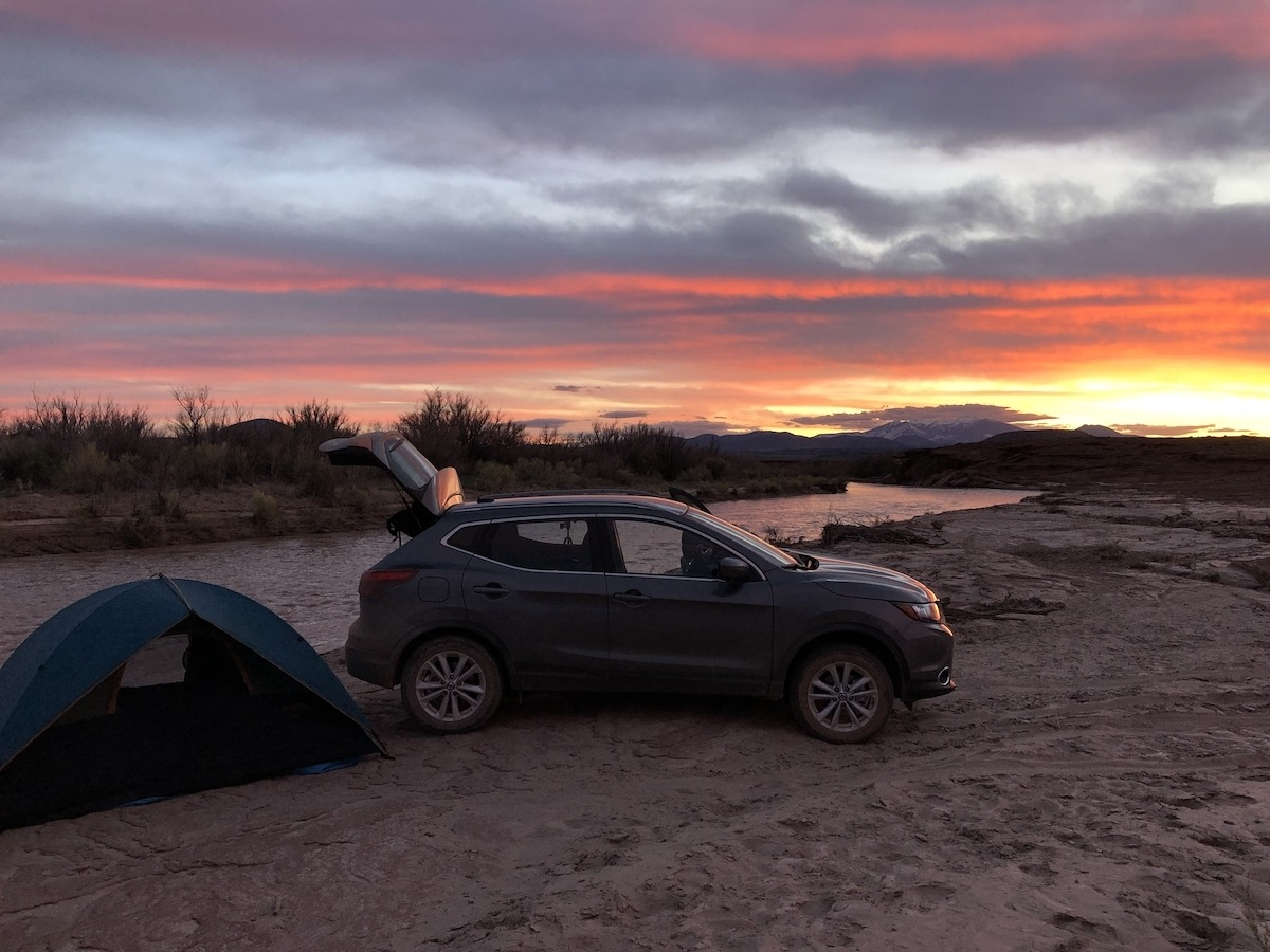 Nissan Rogue camping along Little Colorado River at sunset by MikesroadTrip.com