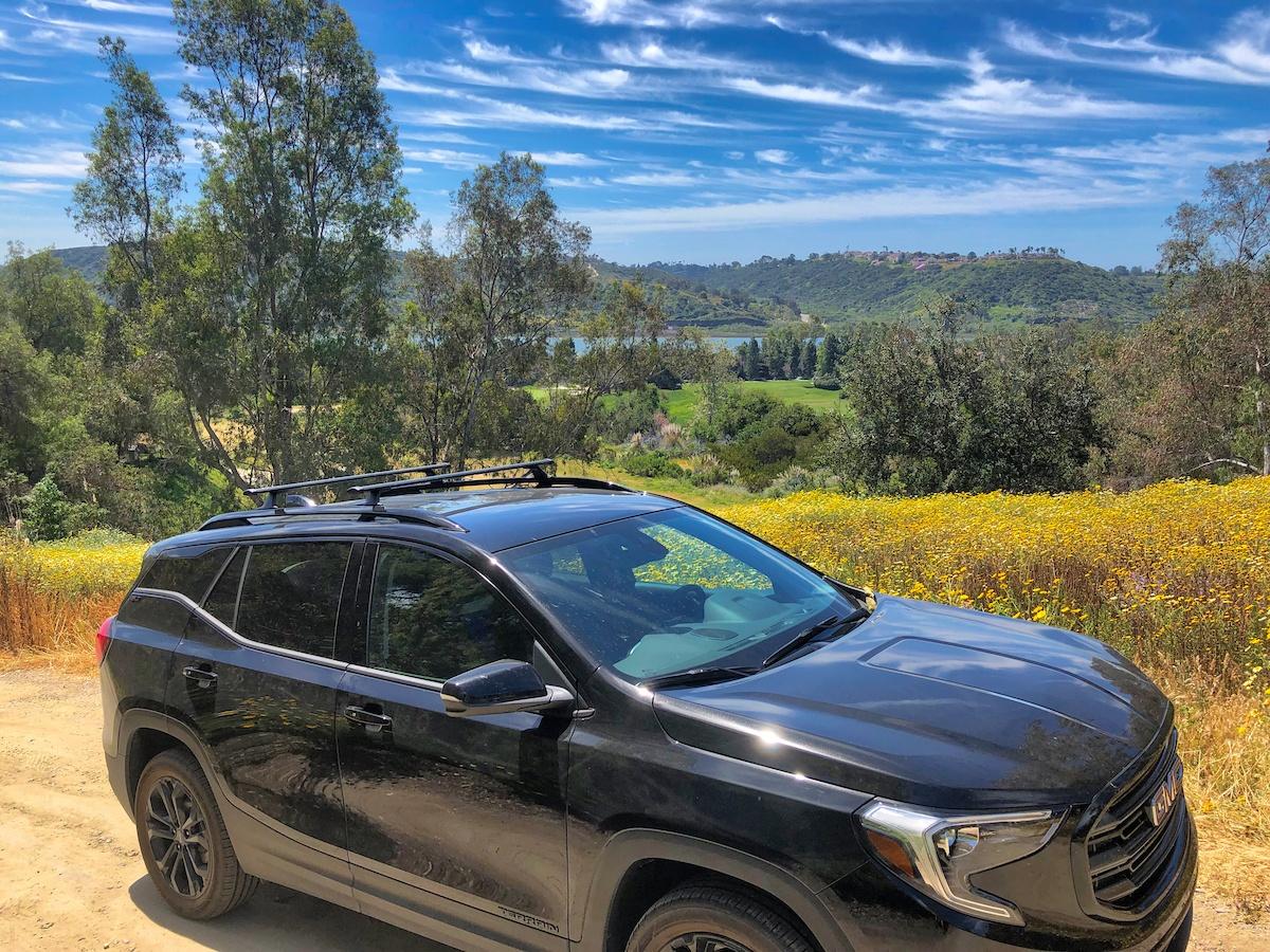 2019 GMC Terrain near wildflowers