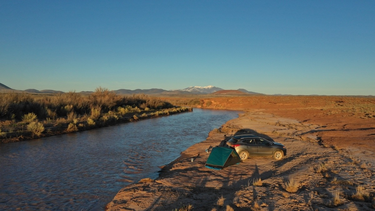 Camping along the Little Colorado River with a Nissan Rogue Sport. Photo by MikesRoadTrip.com