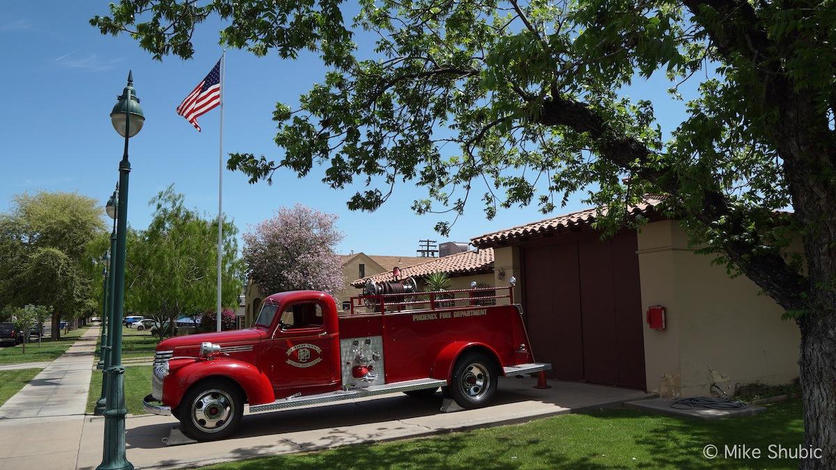 Old fire truck in Phoenix by MikesRoadTrip.com