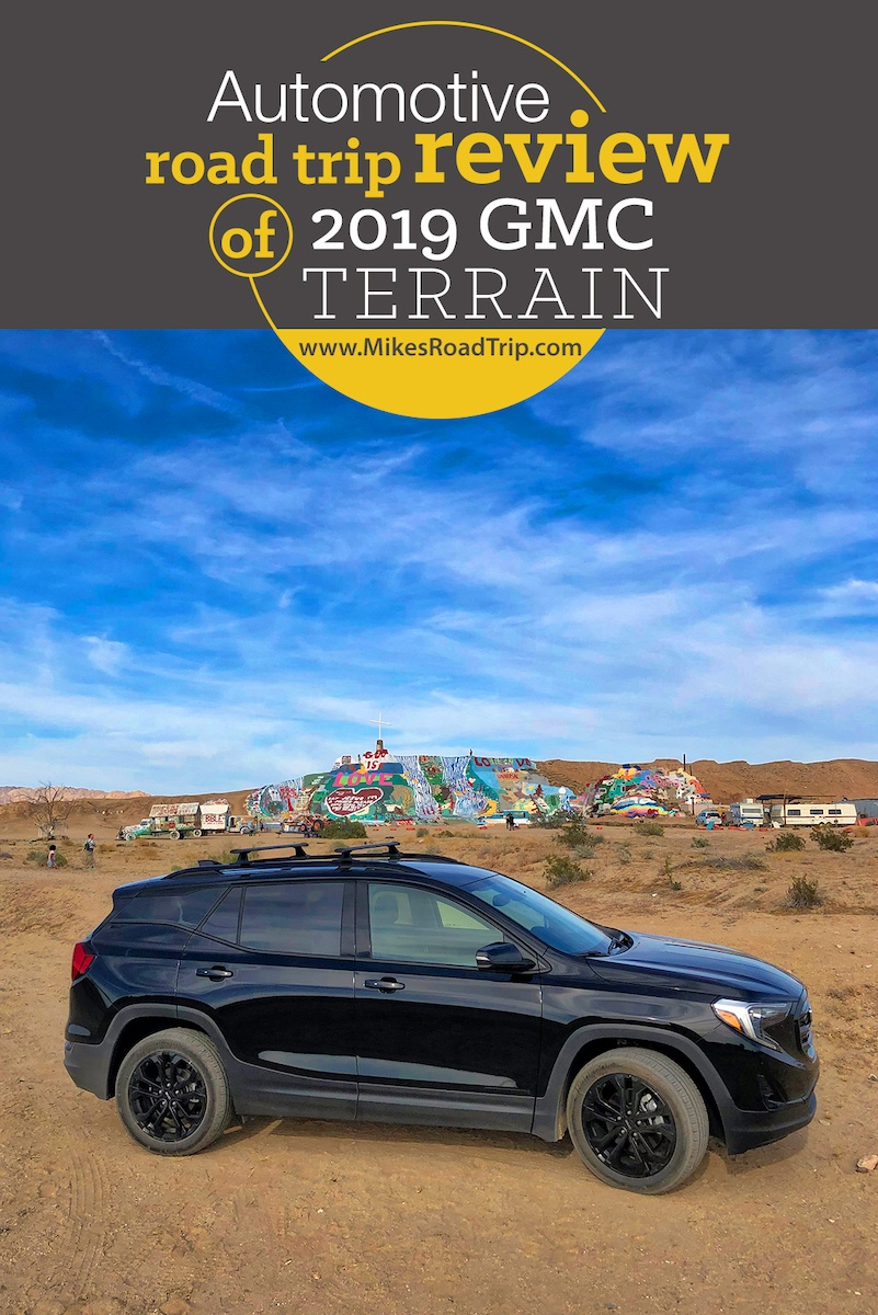 GMC Terrain road trip review - Photo in front of Salvation Mountain