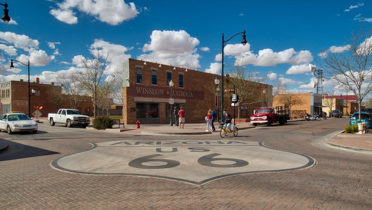 Stanin on a corner in Winslow Arizona