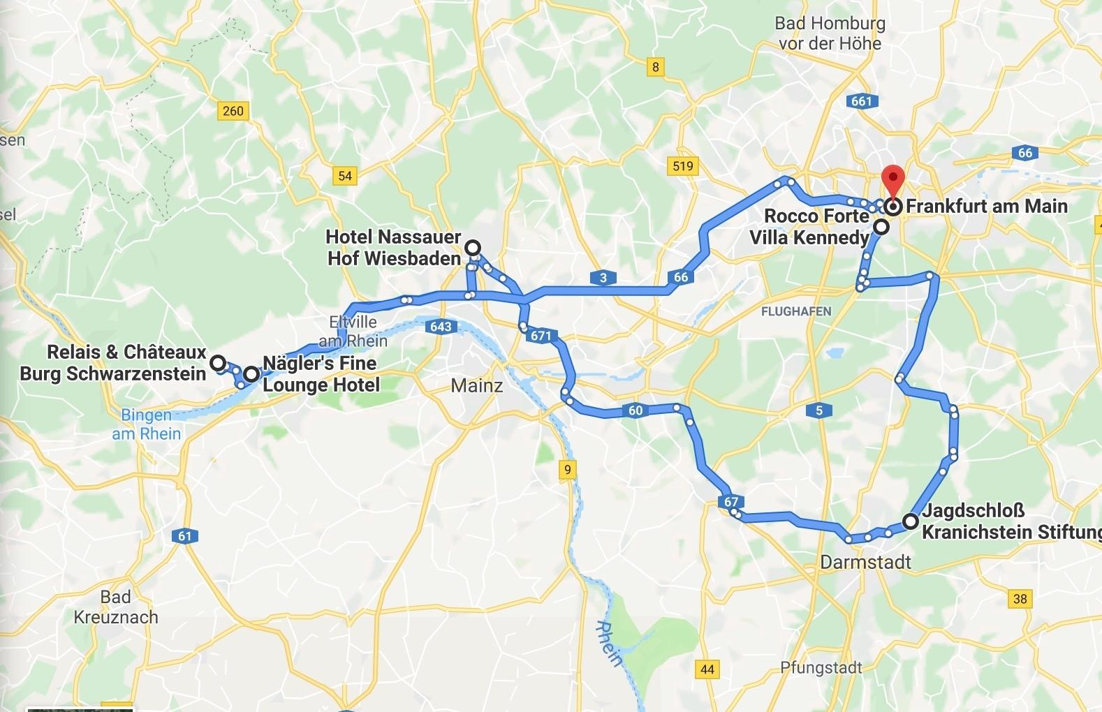 Frankfurt Rhine bucket list of hotels map