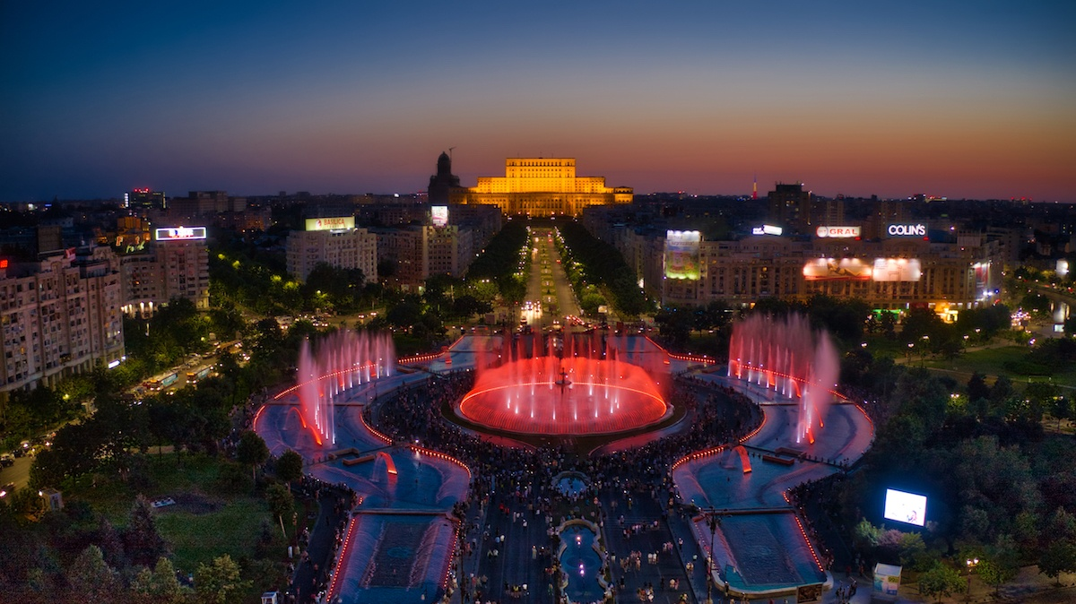 Romania Road trip to Bucharest highlights the Water feature - An aerial photo by: MikesRoadTrip.com
