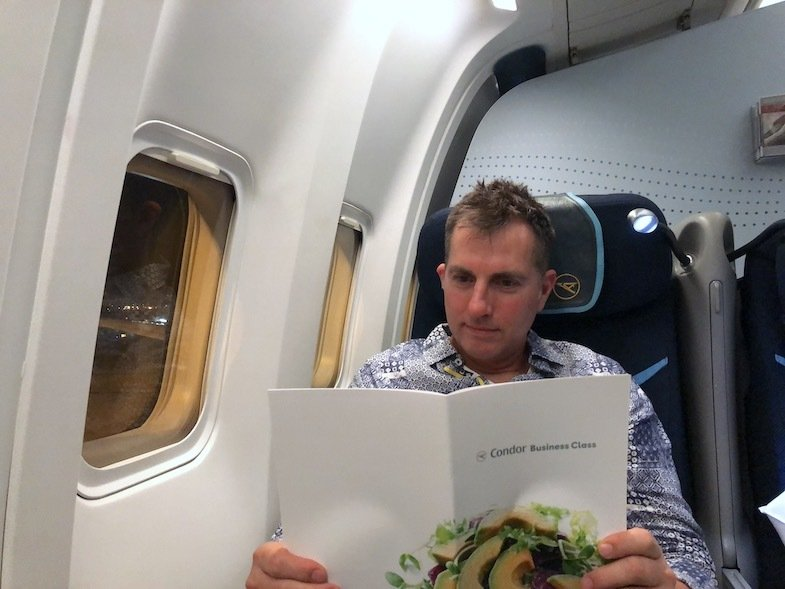 Mike of MikesRoadTrip flying Condor Air Business Class