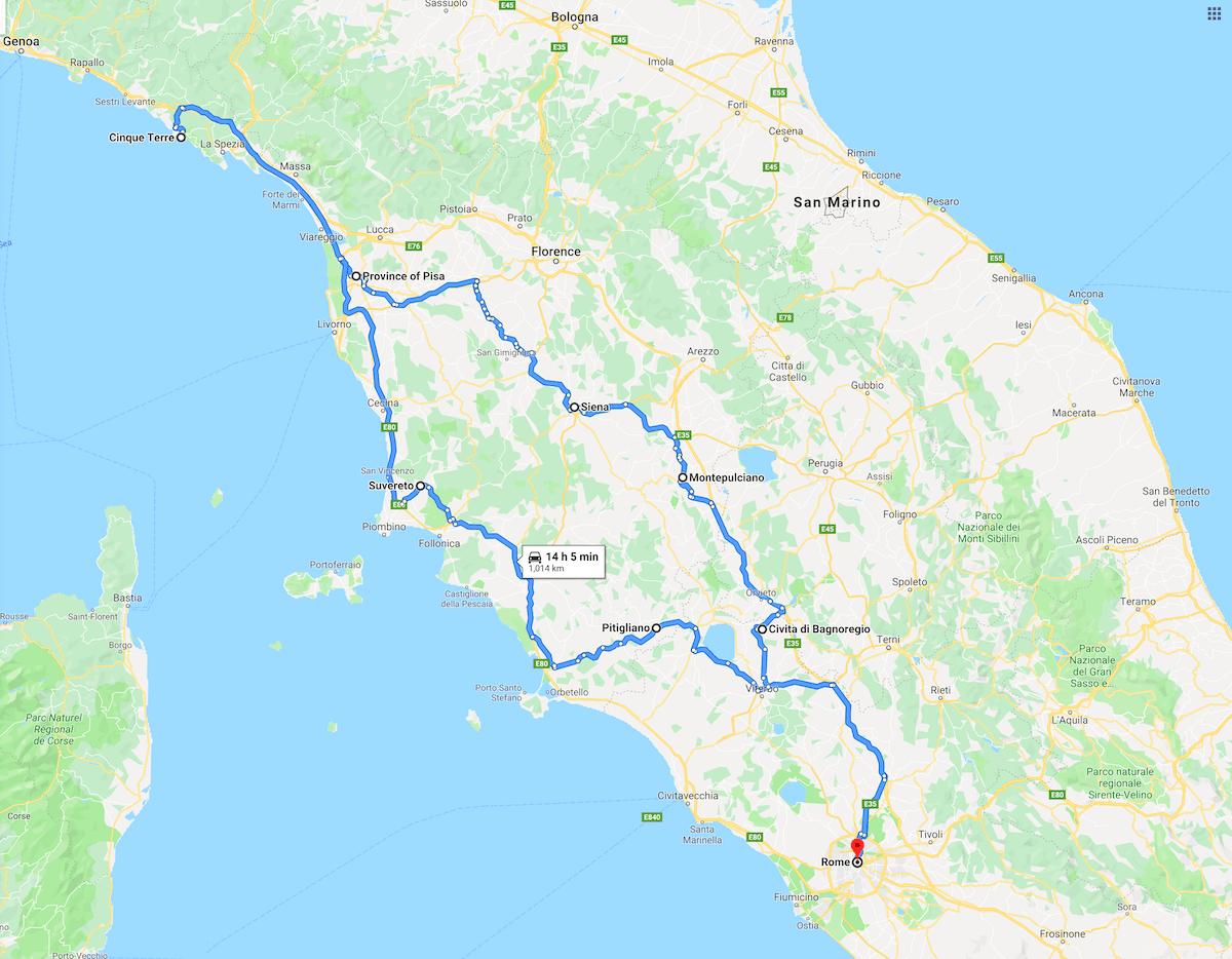 Tuscany Road Trip Map screenshot