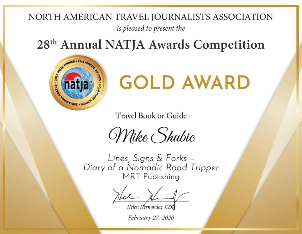 NATJA Gold Certificate for Mike Shubic for best Travel Book 2019
