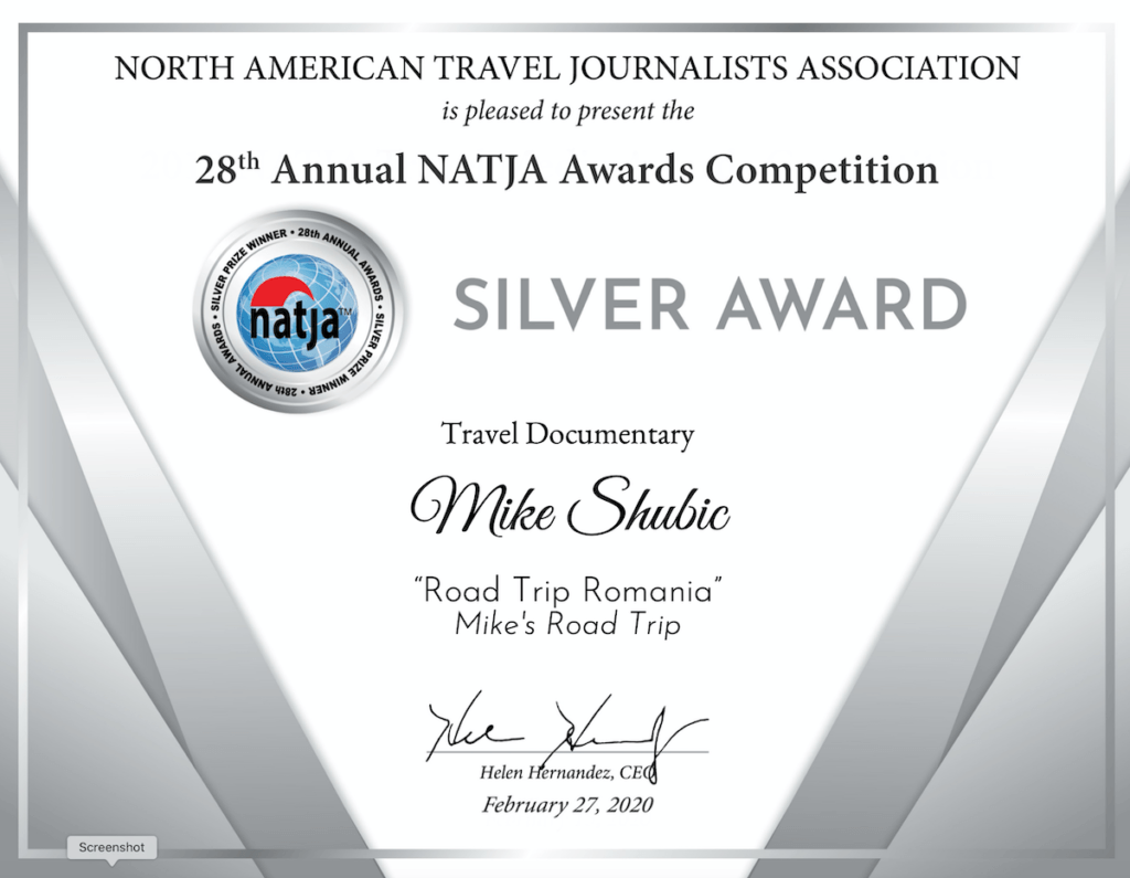 NATJA Silver Certificate award for Mike Shubic for the Travel Documentary 2019