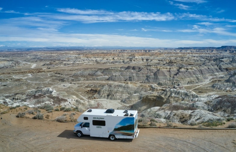 Southwest Road Trip to New Mexico - Cruise America RV at New Mexico Badlands - Photo by: Mike of MikesRoadTrip.com