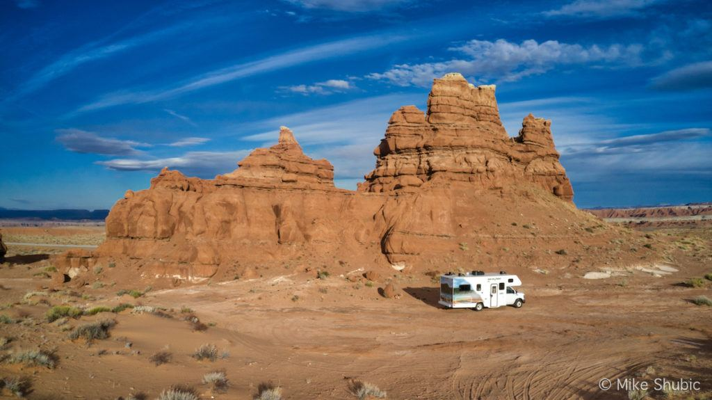 Cruise America RV behind Kathline Butte - Photo by: Mike Shubic of MikesRoadTrip.com