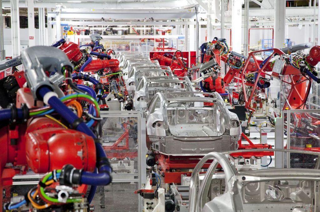Tesla Robots in Factory