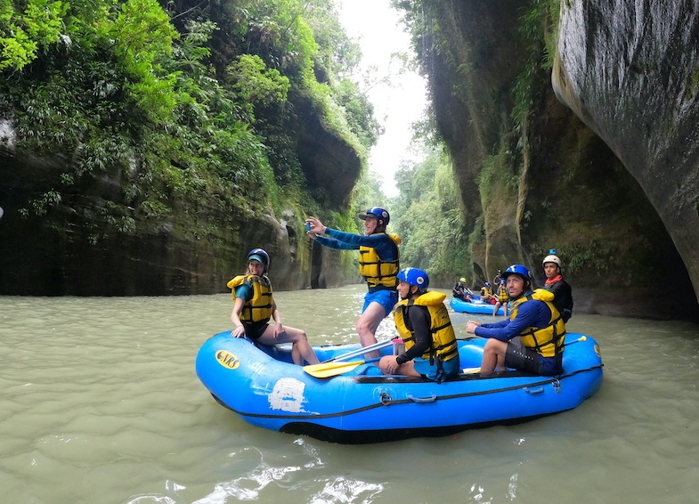 Rafting down the Guejar River in Colombia